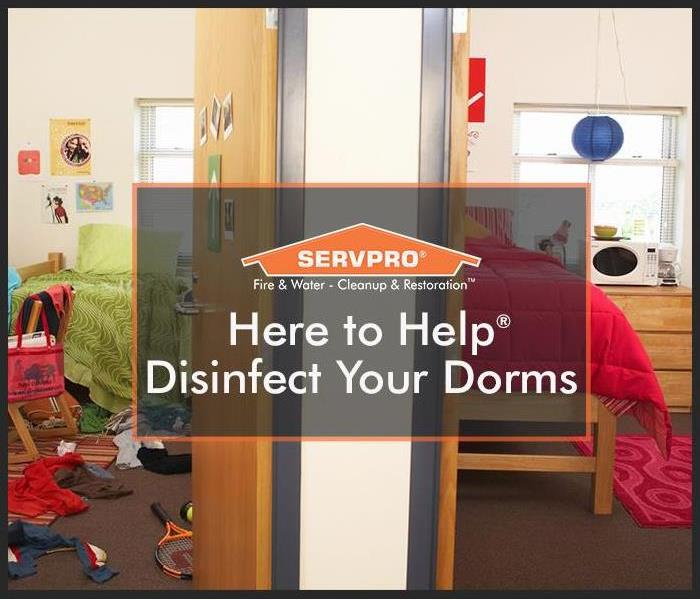 Dorm rooms with SERVPRO logo