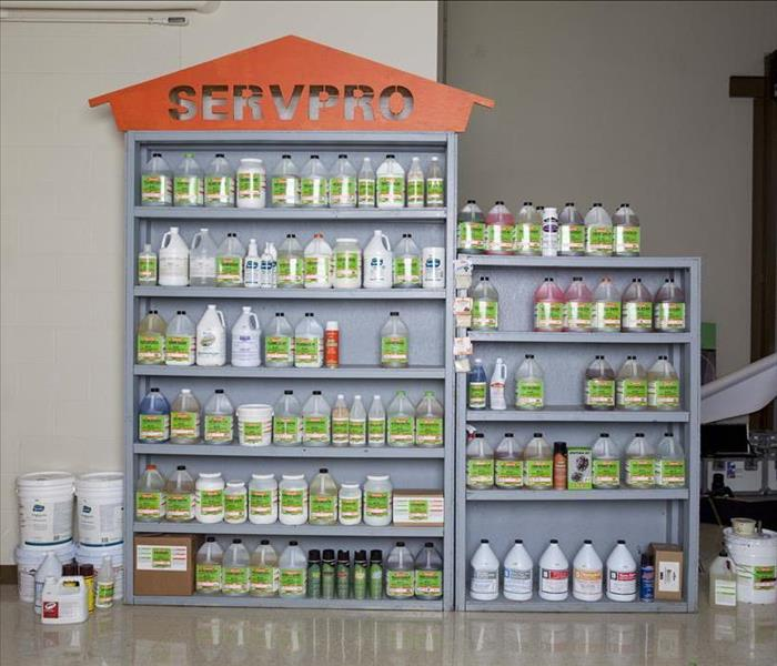Shelf full of SERVPRO cleaning products