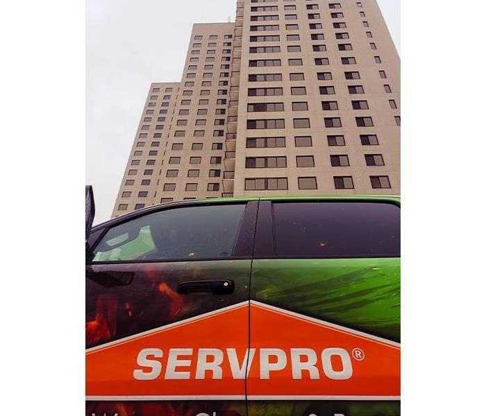SERVPRO vehicle outside of commercial building