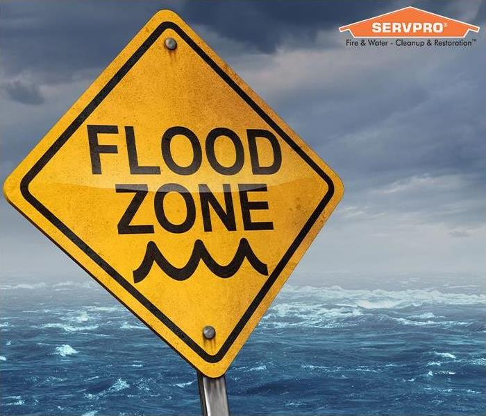 Flood zone sign with SERVPRO logo
